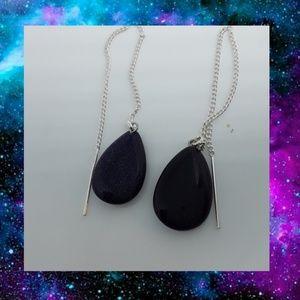 Nickel Free Blue Goldstone Threader Earrings